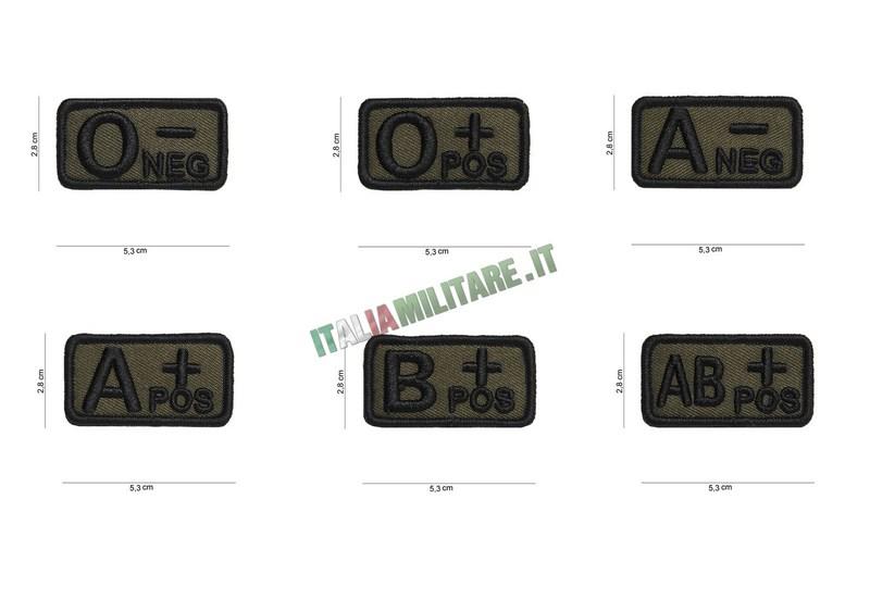 Patch Gruppo Sanguigno Militare 5,3 x 2,8 Verde