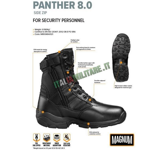 Anfibi Magnum Panther con Zip Laterale