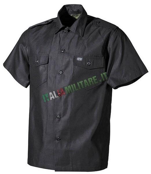 Camicia Manica Corta con Spalline e Tasche Nera