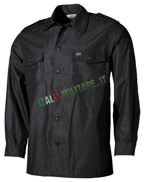 Camicia Manica Lunga con Spalline e Tasche Nera