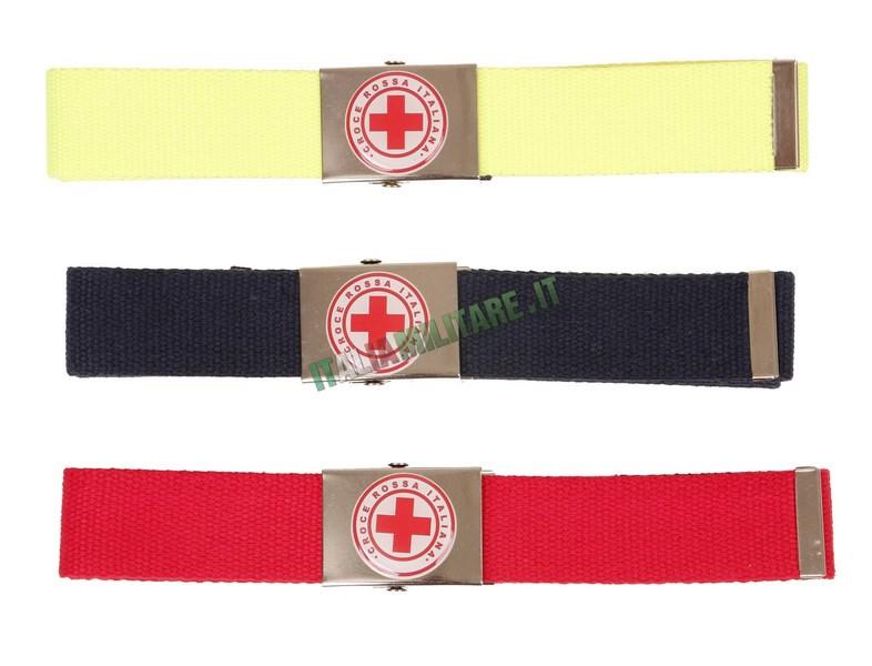 Cintura in Corda con Fibbia in Metallo Croce Rossa