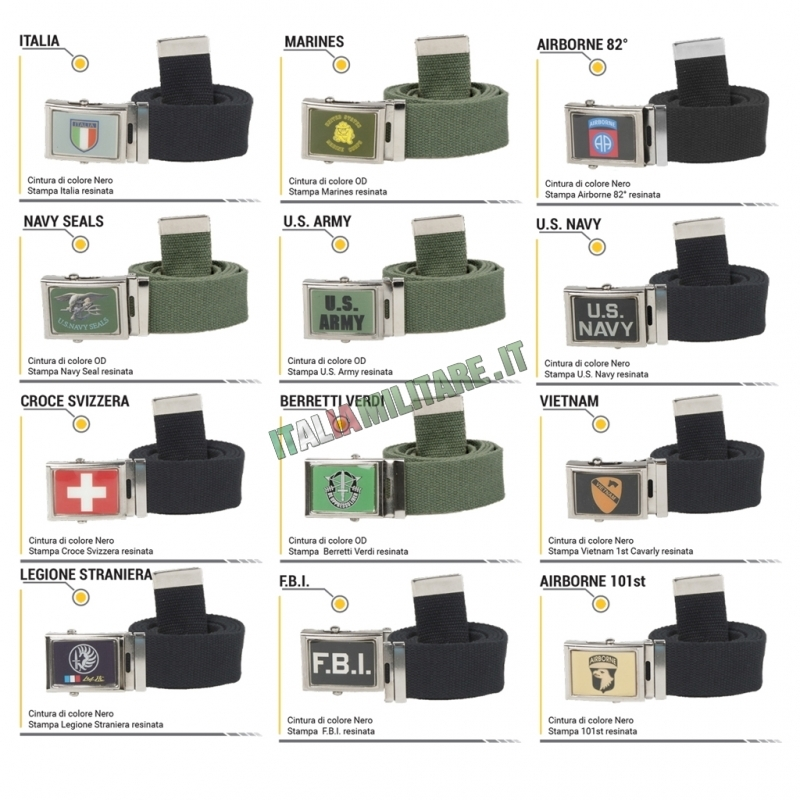 Cintura con Loghi Militari - Vari Modelli