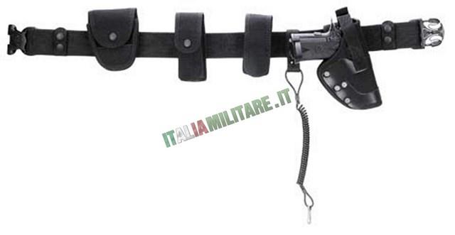 Cinturone militare nero con fondina aperta e accessori