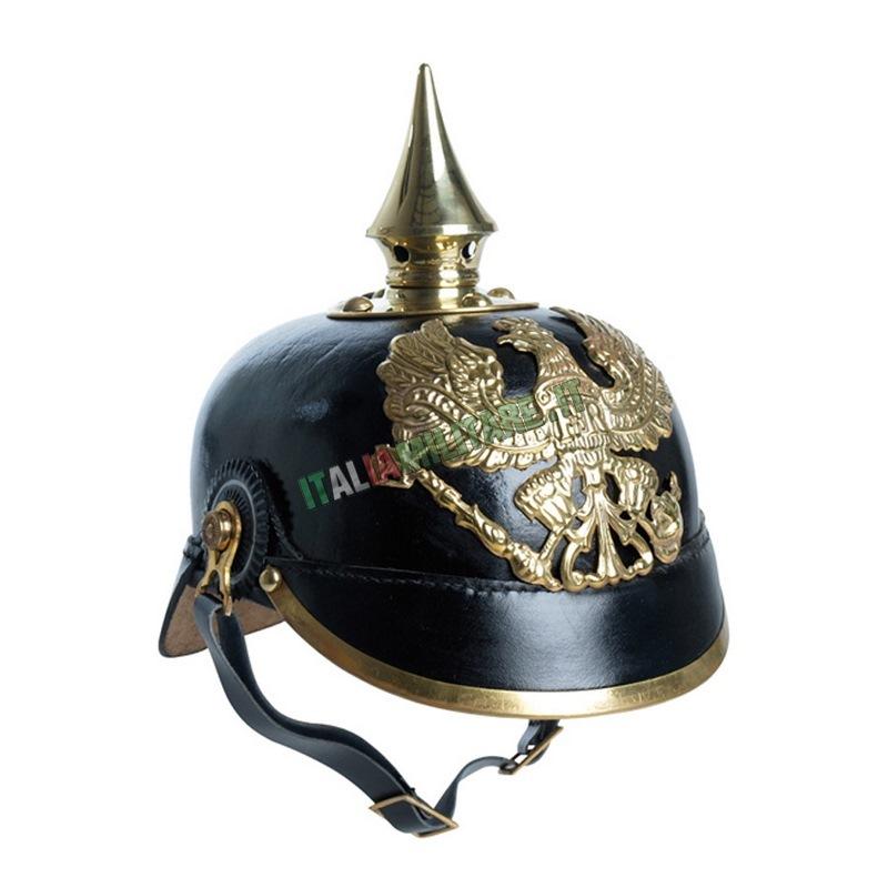 Elmetto Prussiano Militare Tedesco Nero in Metallo Reenactor