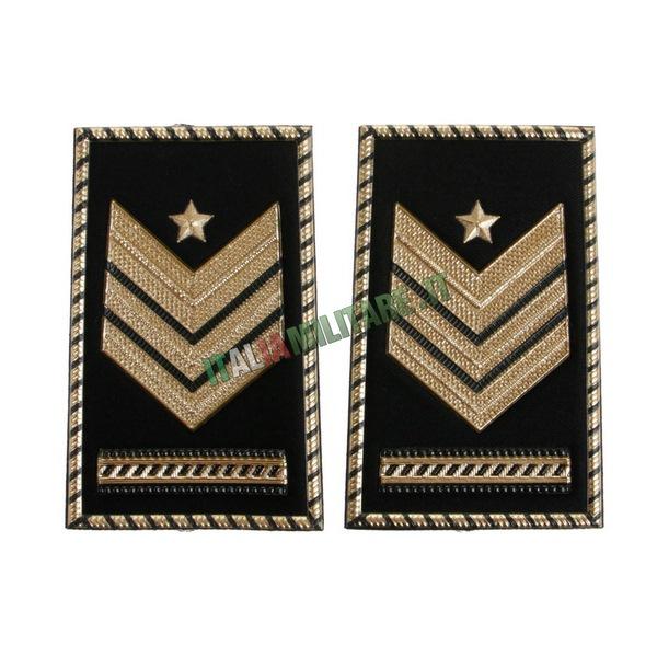 Coppia Gradi Tubolari Neri Esercito Sergente Maggiore Capo Qualifica Speciale