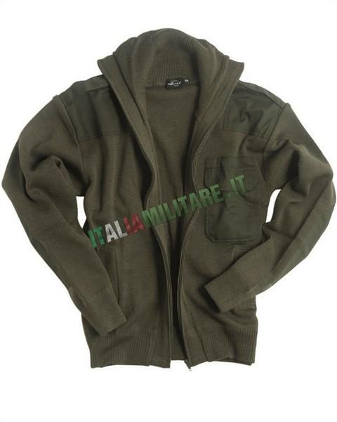 Cardigan Maglia Militare in LANA Verde