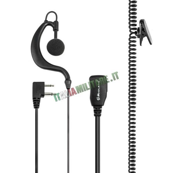 Microfono Auricolare Tattico Midland A21M 2 Pin