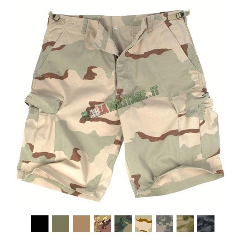 Pantaloni Bermuda Militari Corti 100% Cotone