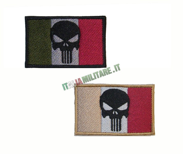 Patch Punisher su Bandiera Italiana Rettangolare