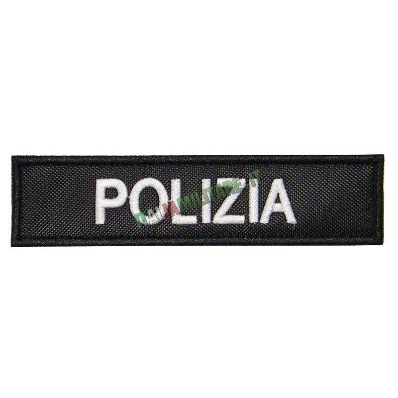 Patch Polizia Rettangolare Nero / Banco